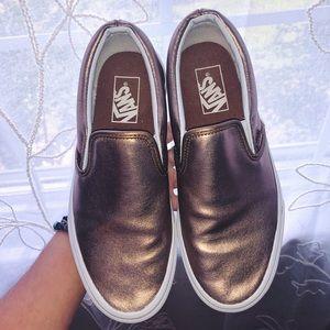 Metallic Rose Slip on Vans